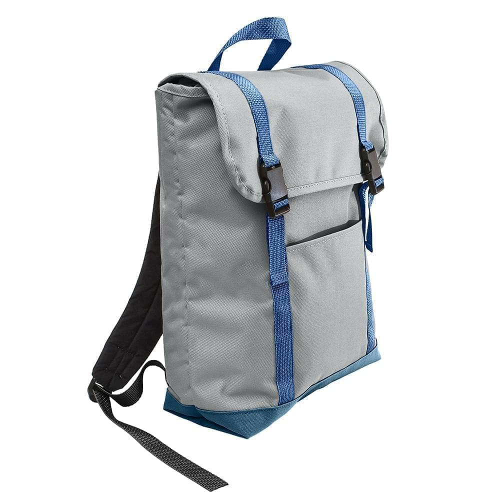 USA Made Poly Large T Bottom Backpacks, Gray-Navy, 2001922-A1Z