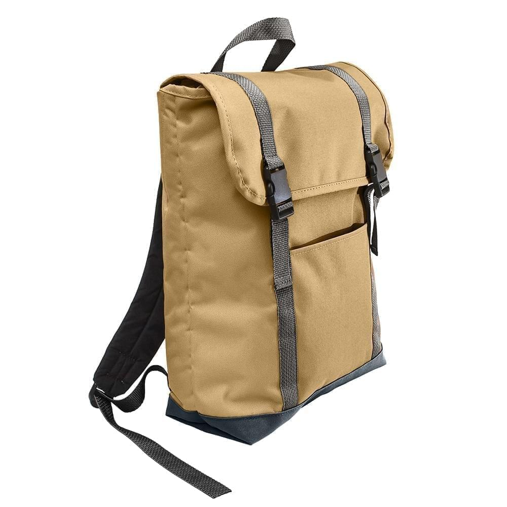 USA Made Poly Large T Bottom Backpacks, Khaki-Black, 2001922-A2R