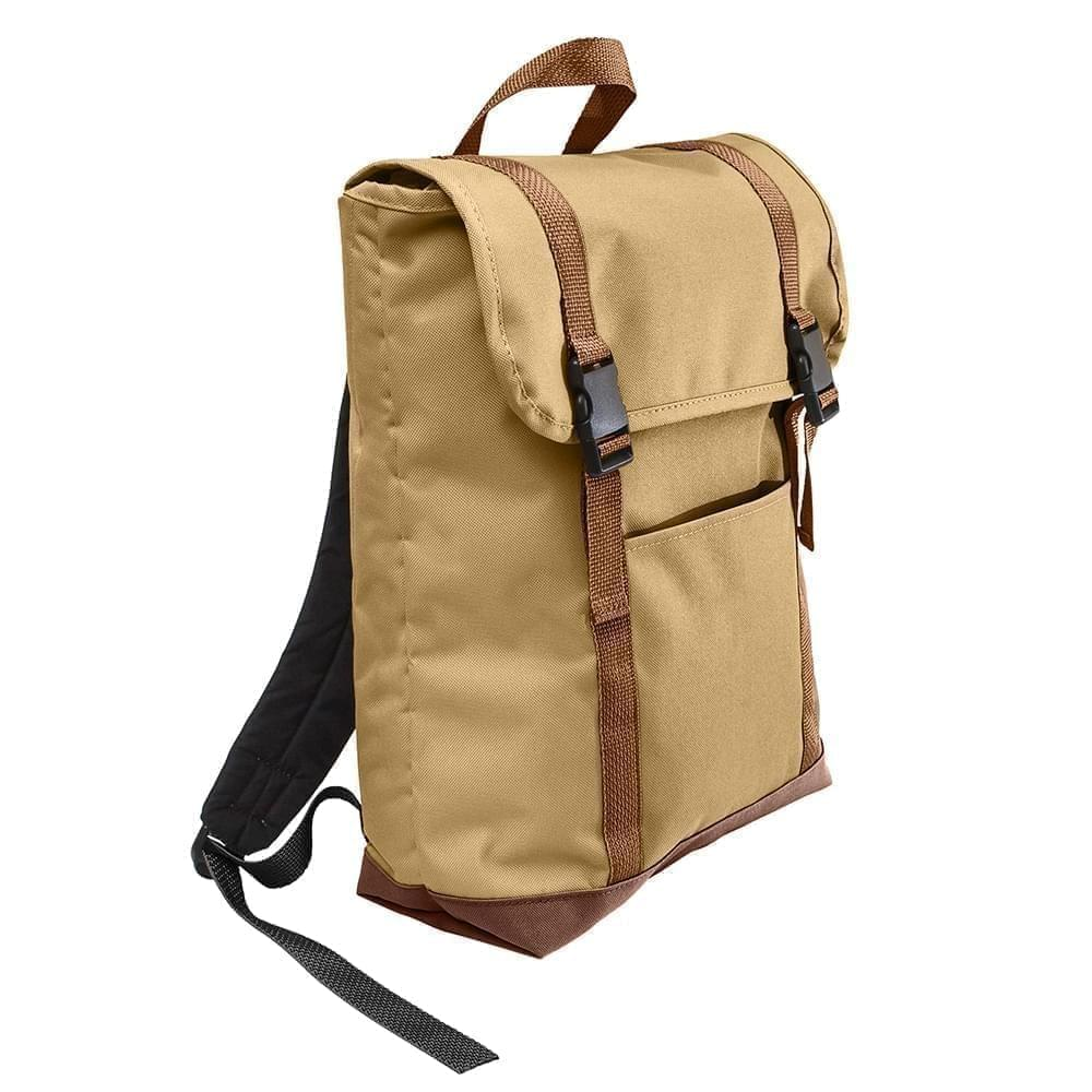 USA Made Poly Large T Bottom Backpacks, Khaki-Brown, 2001922-A2S