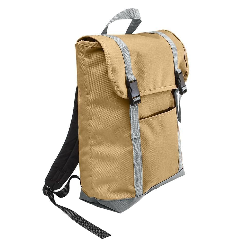 USA Made Poly Large T Bottom Backpacks, Khaki-Gray, 2001922-A2U