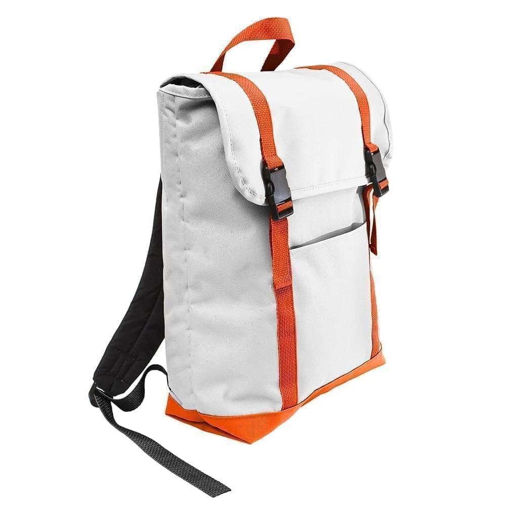 USA Made Poly Large T Bottom Backpacks, White-Orange, 2001922-A30