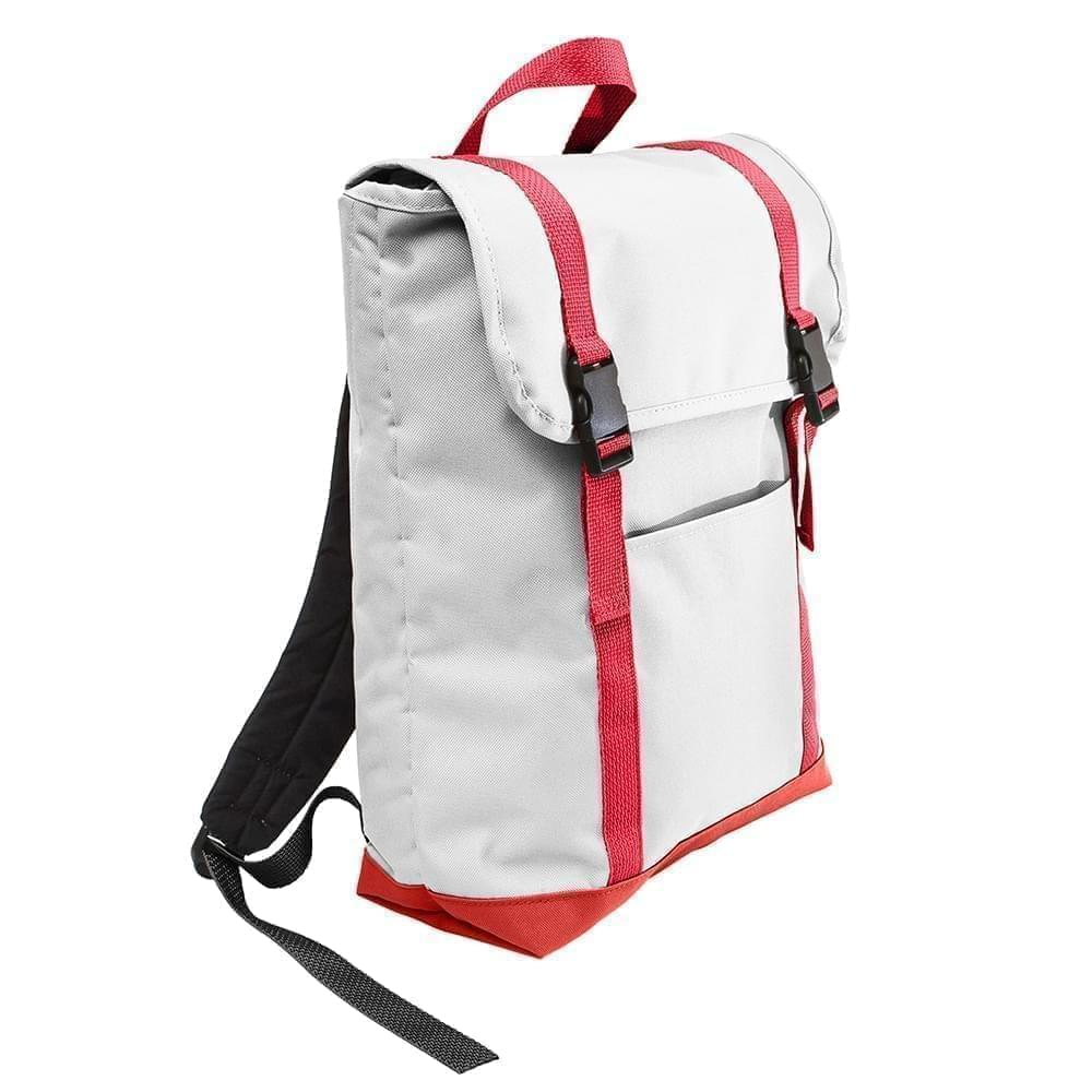 USA Made Poly Large T Bottom Backpacks, White-Red, 2001922-A32