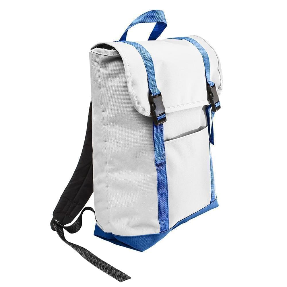 USA Made Poly Large T Bottom Backpacks, White-Royal, 2001922-A33