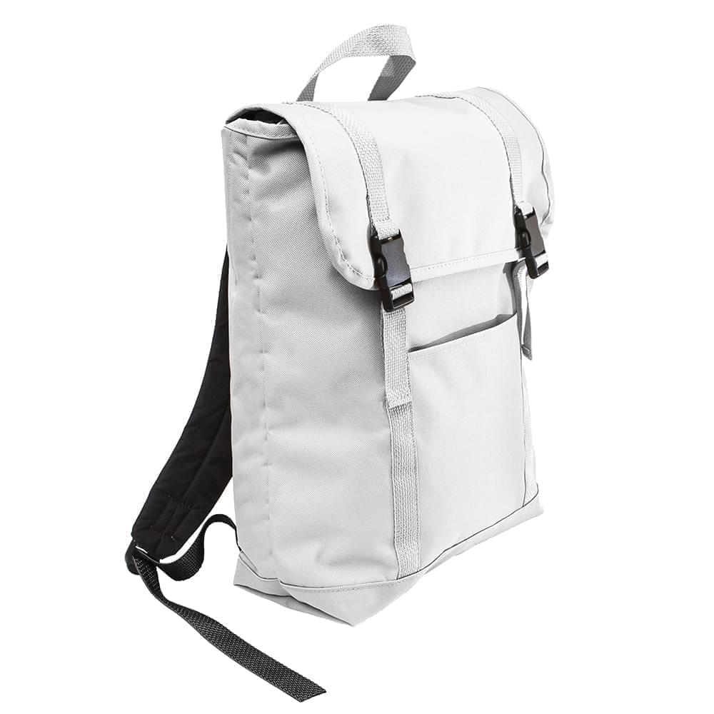 USA Made Poly Large T Bottom Backpacks, White-White, 2001922-A34