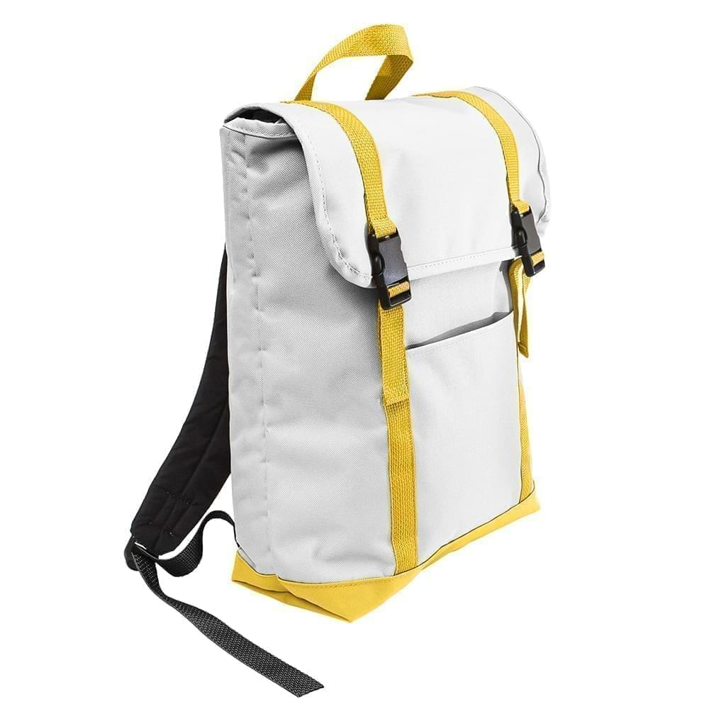 USA Made Poly Large T Bottom Backpacks, White-Gold, 2001922-A35