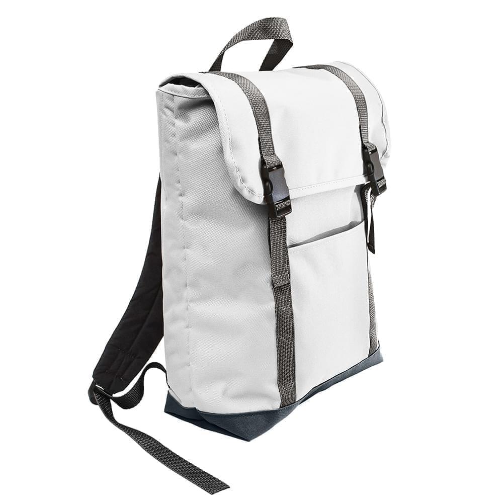 USA Made Poly Large T Bottom Backpacks, White-Black, 2001922-A3R
