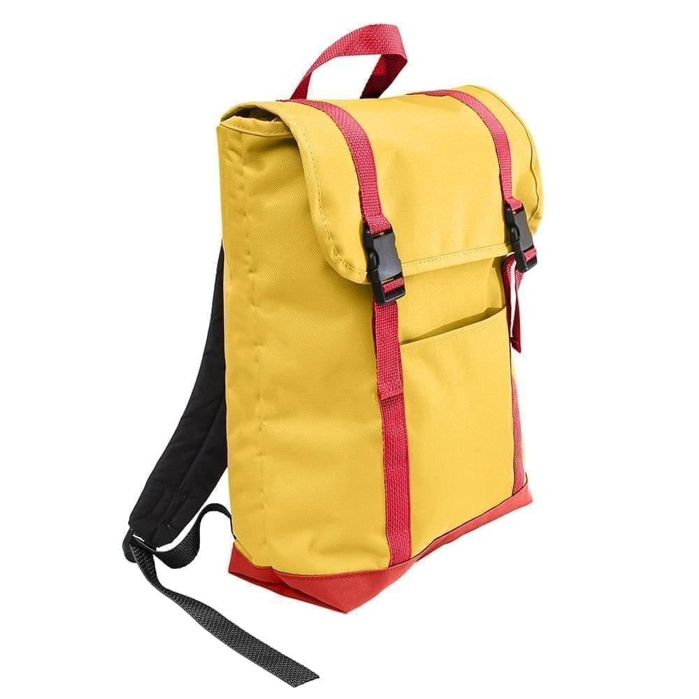 USA Made Poly Large T Bottom Backpacks, Gold-Red, 2001922-A42