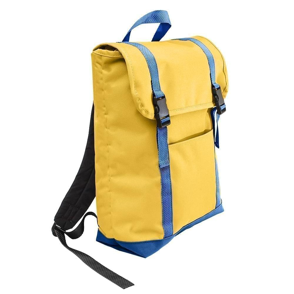 USA Made Poly Large T Bottom Backpacks, Gold-Royal, 2001922-A43