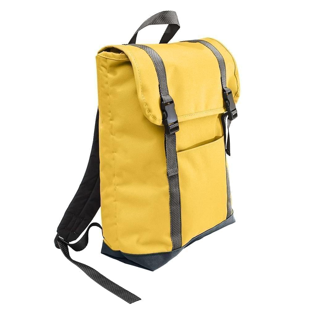 USA Made Poly Large T Bottom Backpacks, Gold-Black, 2001922-A4R