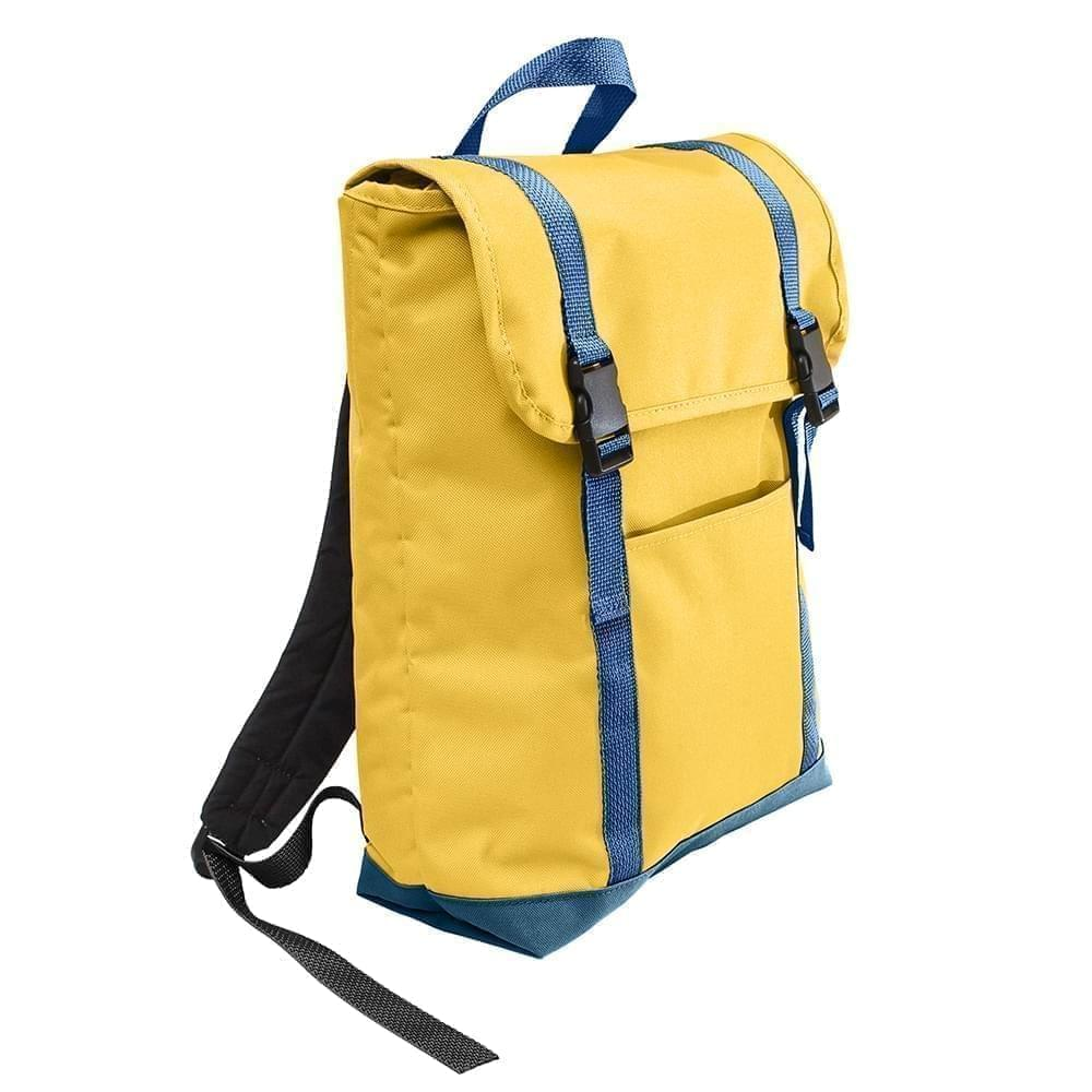 USA Made Poly Large T Bottom Backpacks, Gold-Navy, 2001922-A4Z