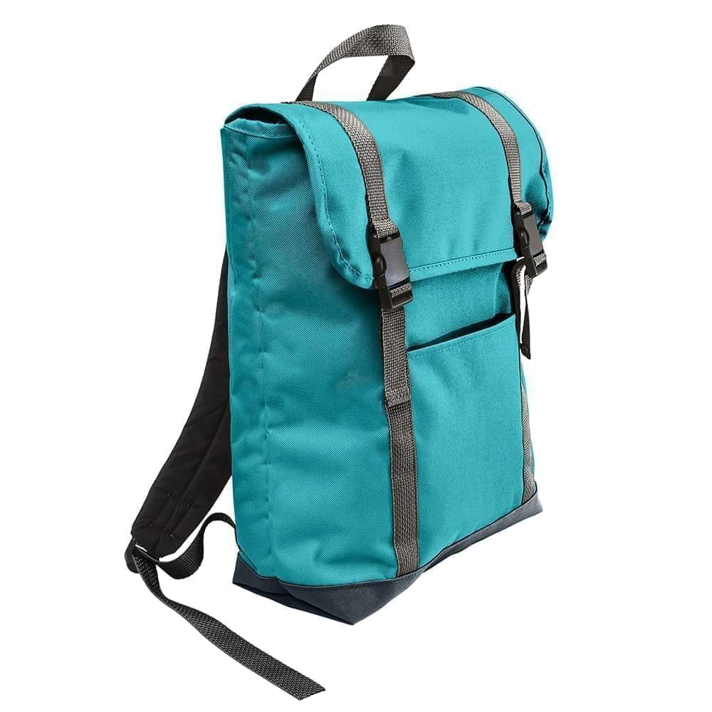 USA Made Poly Large T Bottom Backpacks, Turquoise-Black, 2001922-A9R