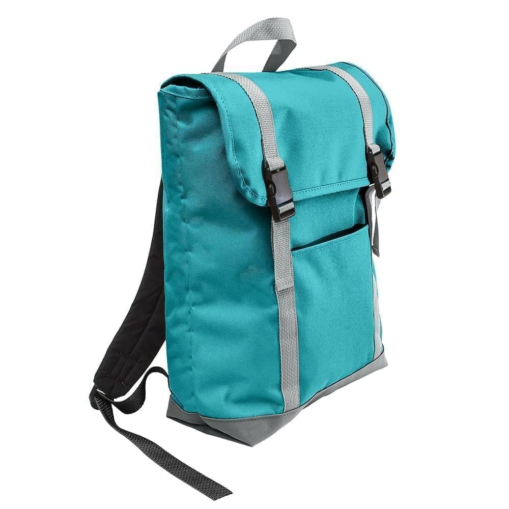 USA Made Poly Large T Bottom Backpacks, Turquoise-Gray, 2001922-A9U