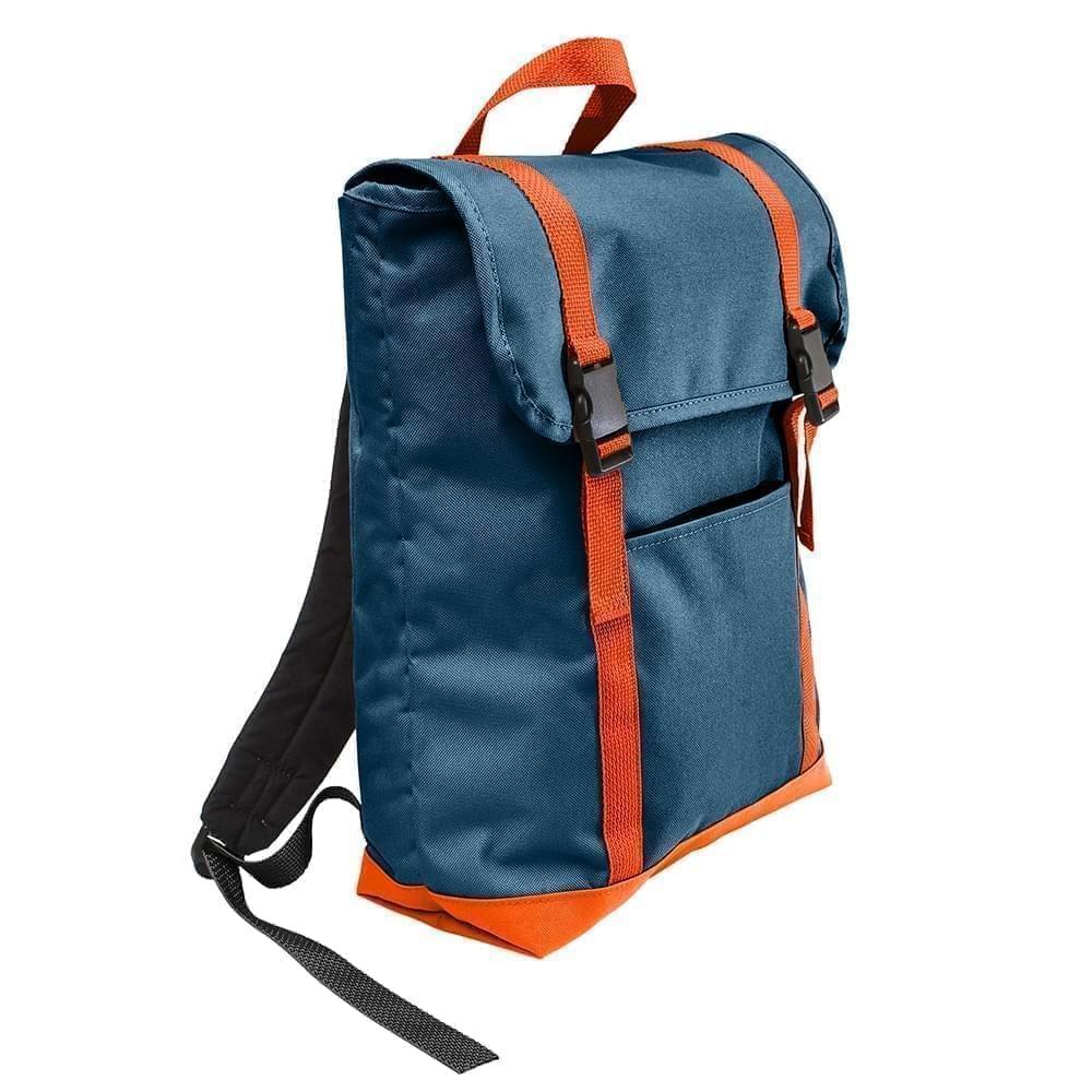 USA Made Canvas Large T Bottom Backpacks, Navy-Orange, 2001922-AC0