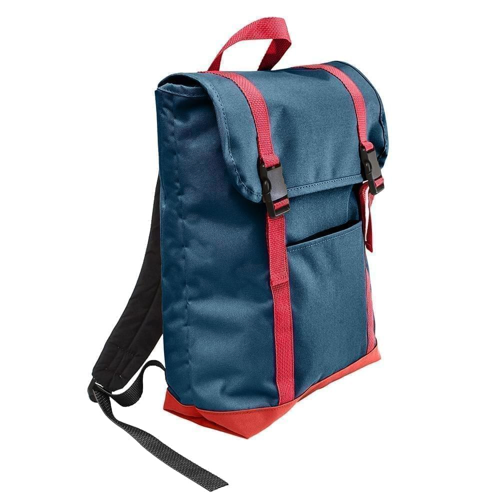 USA Made Canvas Large T Bottom Backpacks, Navy-Red, 2001922-AC2