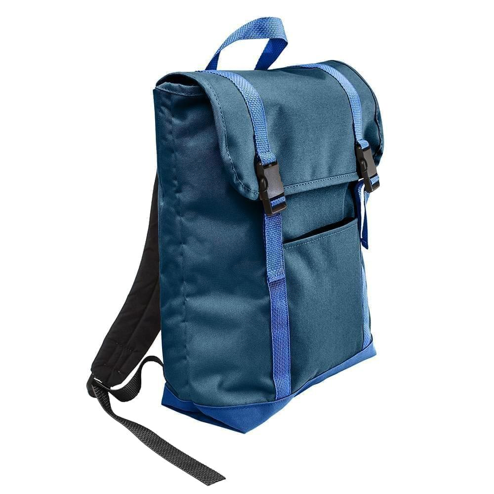 USA Made Canvas Large T Bottom Backpacks, Navy-Royal, 2001922-AC3