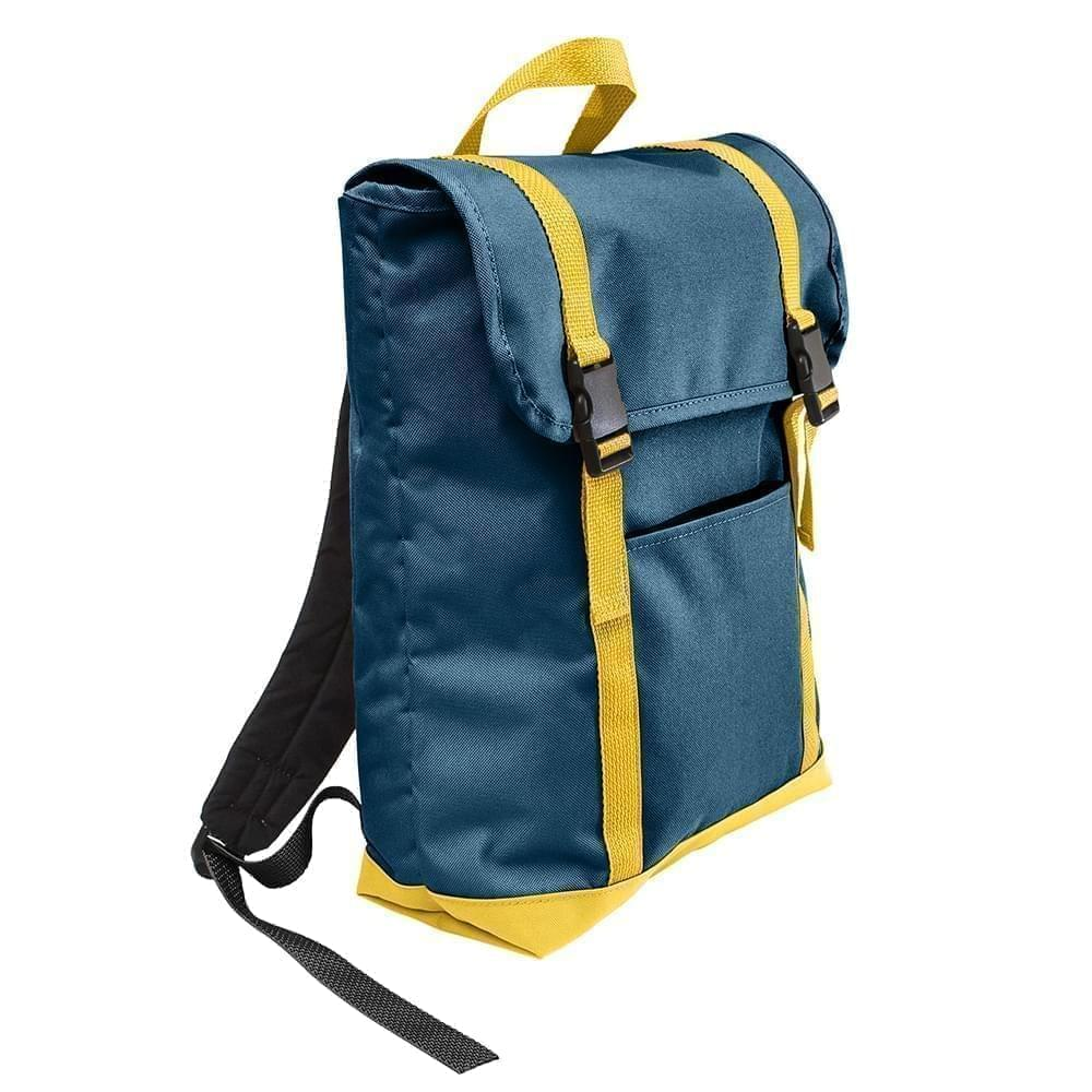 USA Made Canvas Large T Bottom Backpacks, Navy-Gold, 2001922-AC5