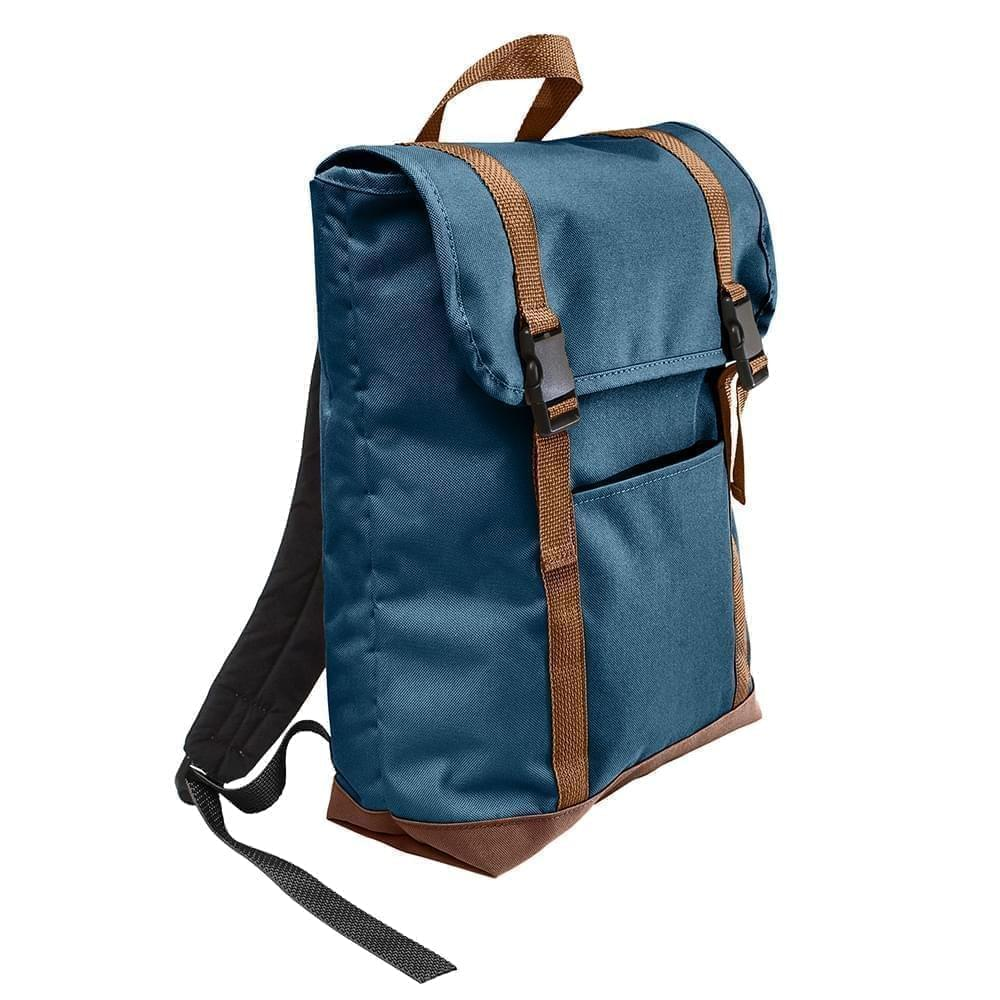 USA Made Canvas Large T Bottom Backpacks, Navy-Brown, 2001922-ACS