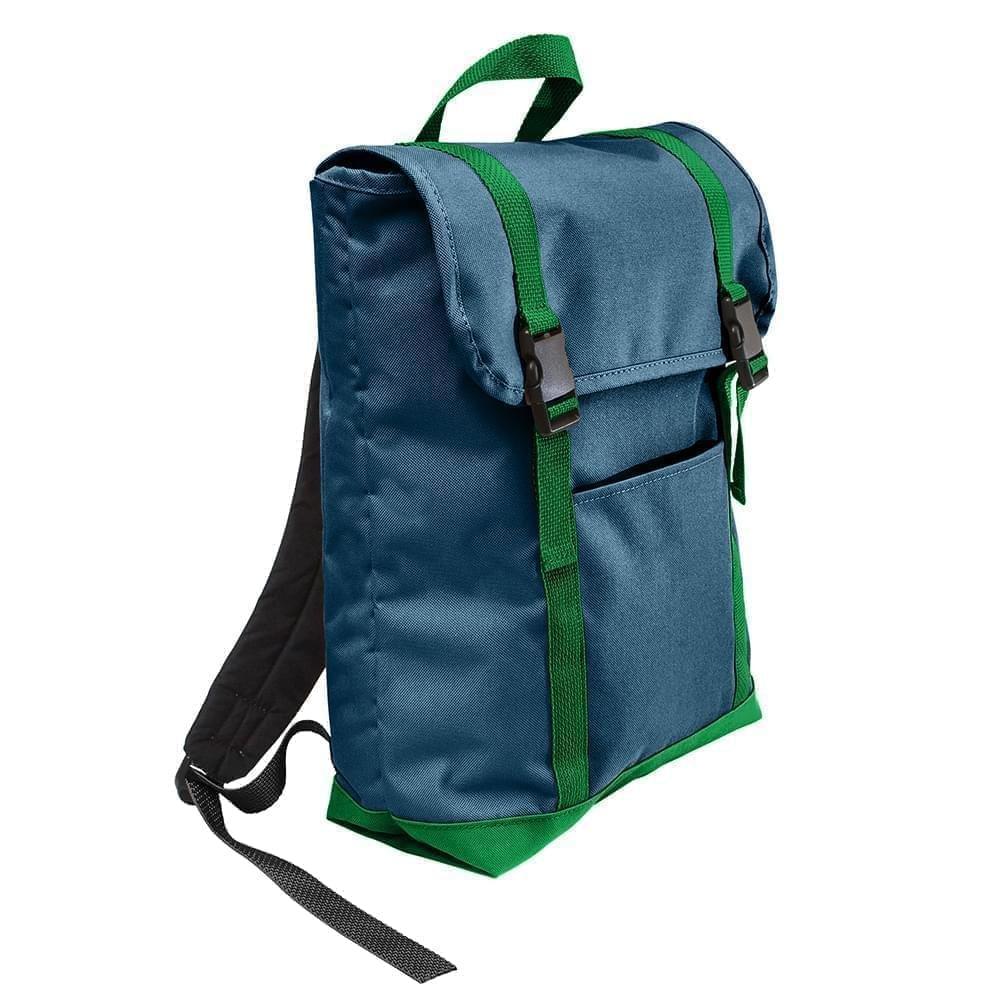 USA Made Canvas Large T Bottom Backpacks, Navy-Kelly, 2001922-ACW