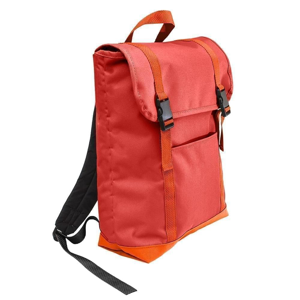 USA Made Canvas Large T Bottom Backpacks, Red-Orange, 2001922-AE0