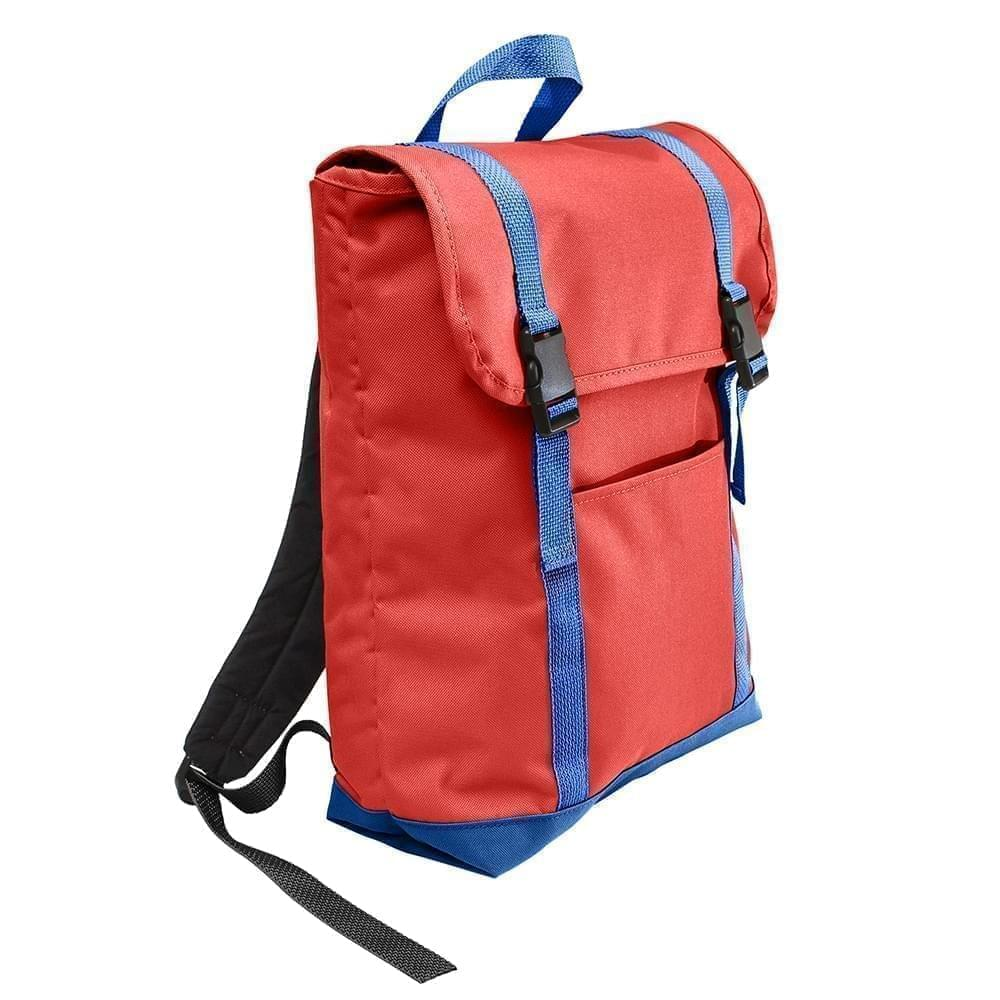 USA Made Canvas Large T Bottom Backpacks, Red-Royal, 2001922-AE3
