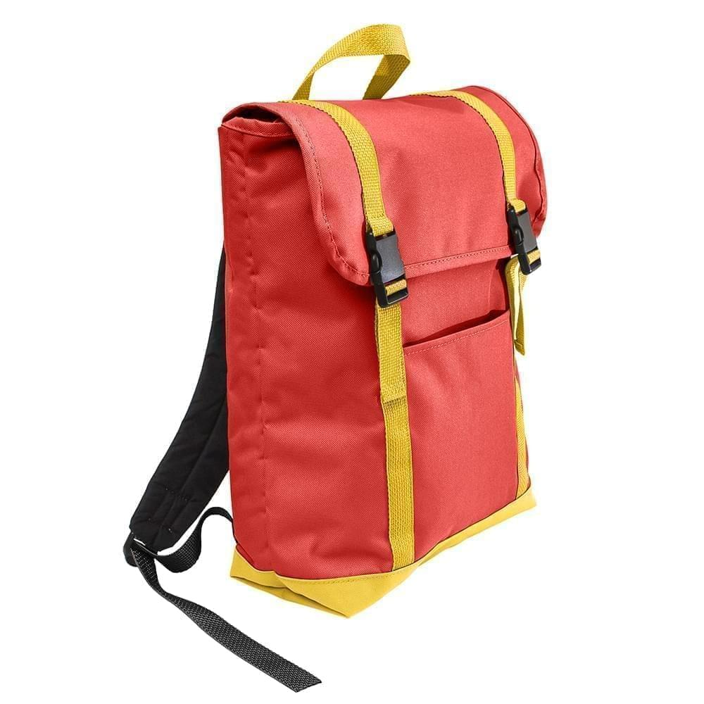 USA Made Canvas Large T Bottom Backpacks, Red-Gold, 2001922-AE5