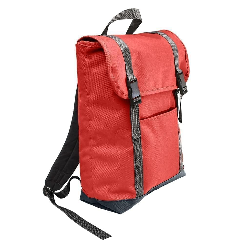 USA Made Canvas Large T Bottom Backpacks, Red-Black, 2001922-AER