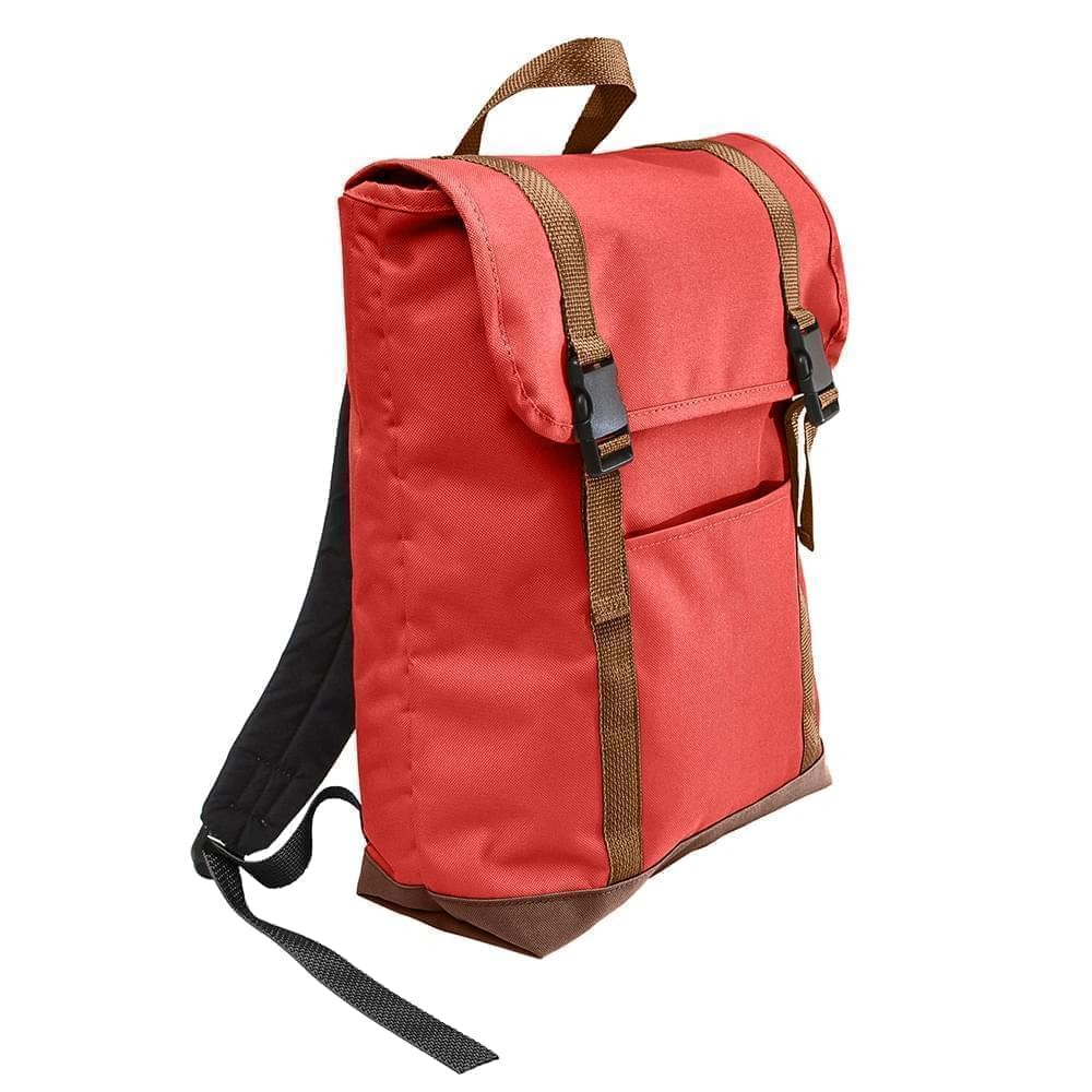 USA Made Canvas Large T Bottom Backpacks, Red-Brown, 2001922-AES