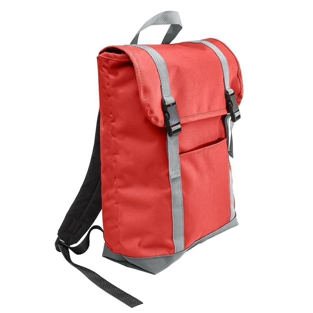 USA Made Canvas Large T Bottom Backpacks, Red-Gray, 2001922-AEU