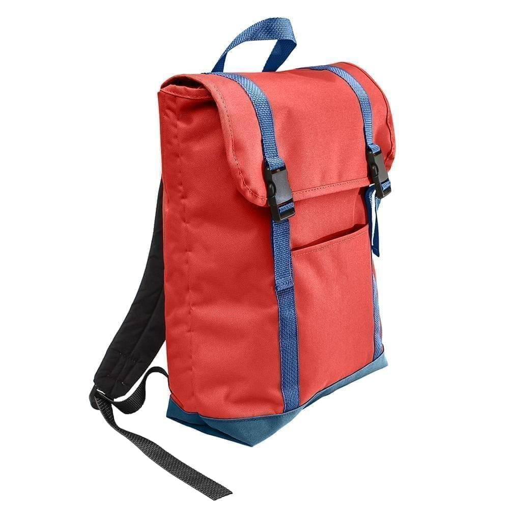 USA Made Canvas Large T Bottom Backpacks, Red-Navy, 2001922-AEZ