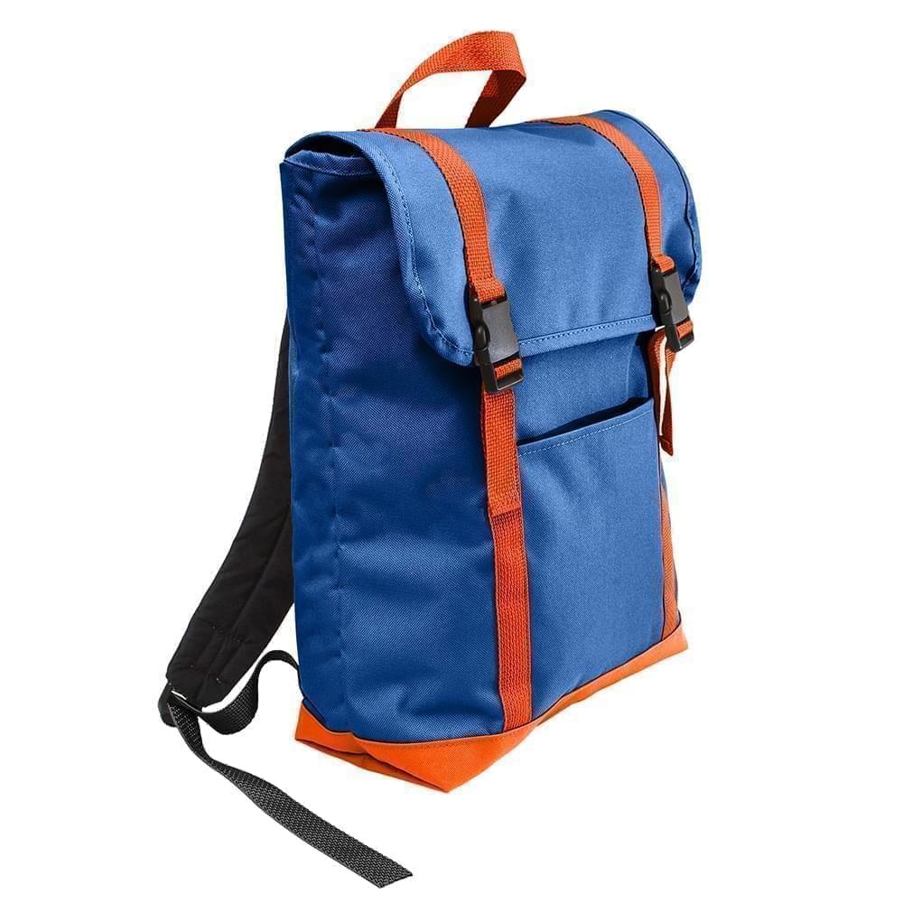 USA Made Canvas Large T Bottom Backpacks, Royal-Orange, 2001922-AF0