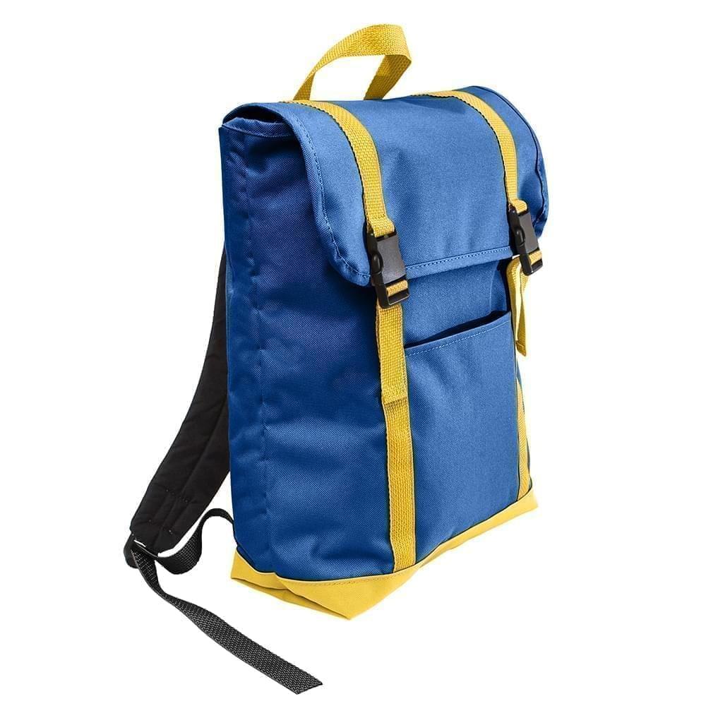 USA Made Canvas Large T Bottom Backpacks, Royal-Gold, 2001922-AF5