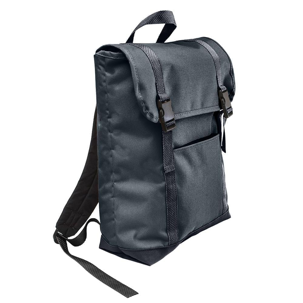 USA Made Canvas Large T Bottom Backpacks, Black-Graphite, 2001922-AHT