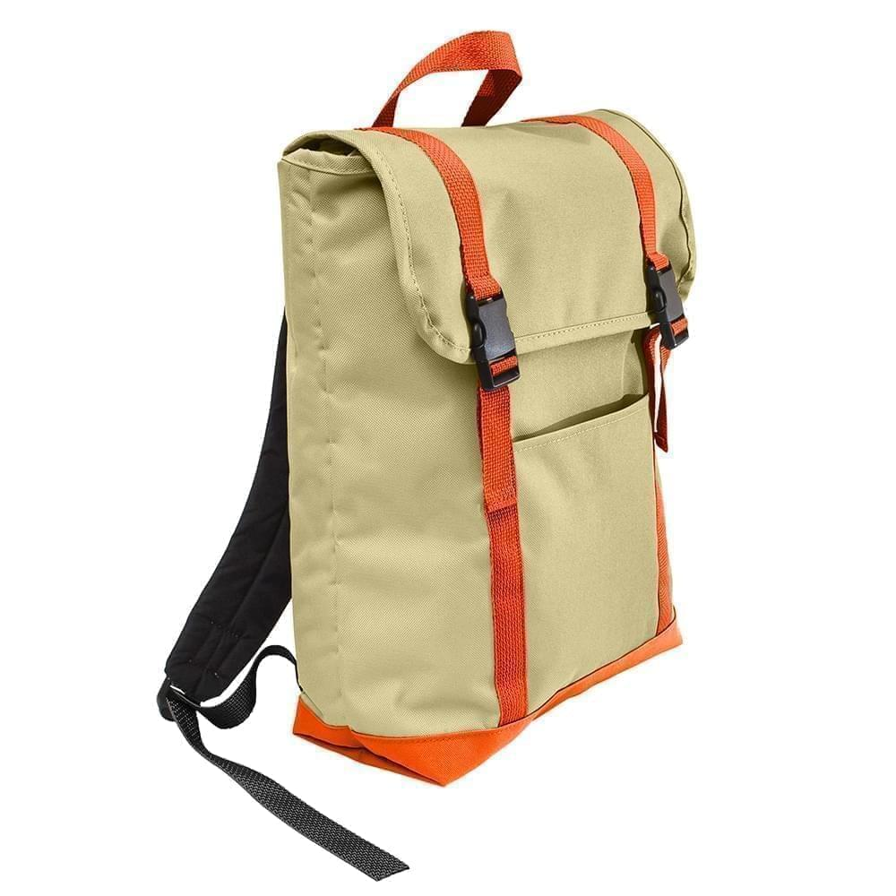 USA Made Canvas Large T Bottom Backpacks, Natural-Orange, 2001922-AK0