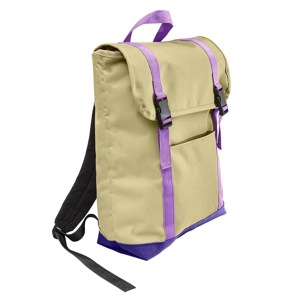 USA Made Canvas Large T Bottom Backpacks, Natural-Purple, 2001922-AK1