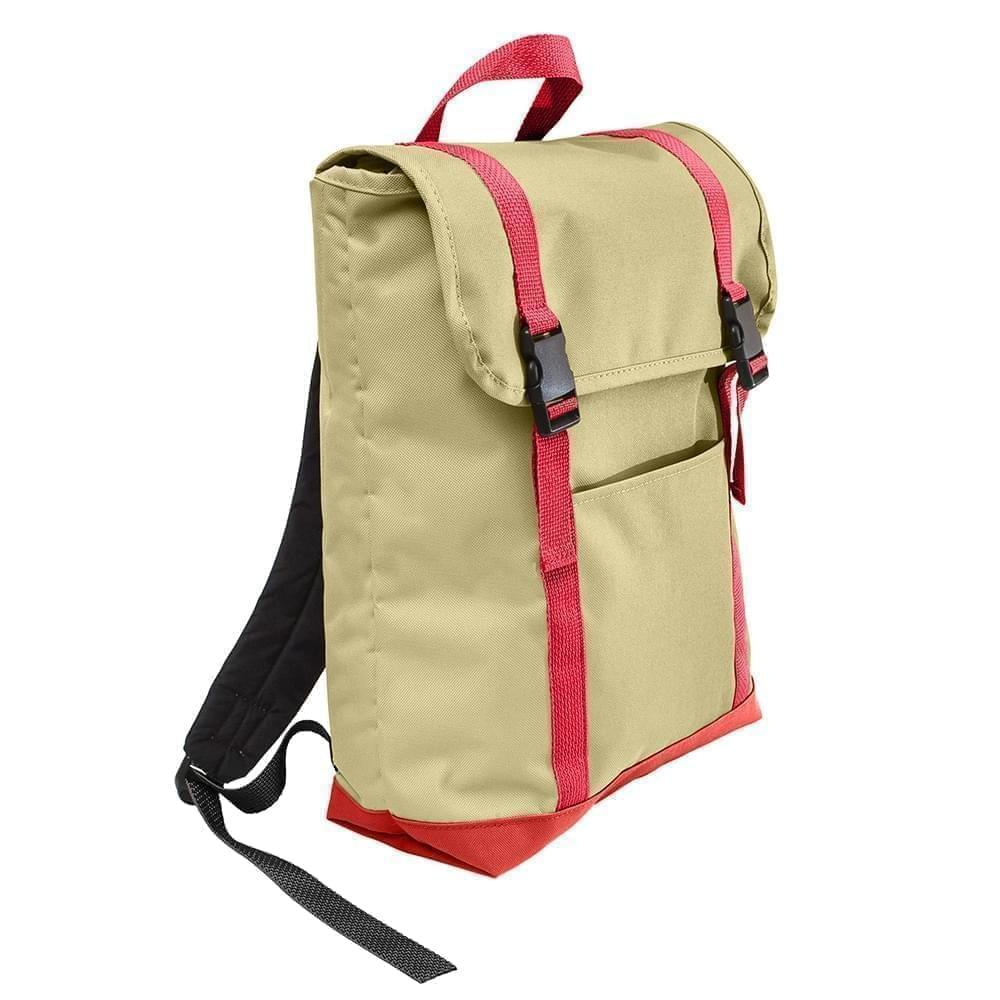 USA Made Canvas Large T Bottom Backpacks, Natural-Red, 2001922-AK2