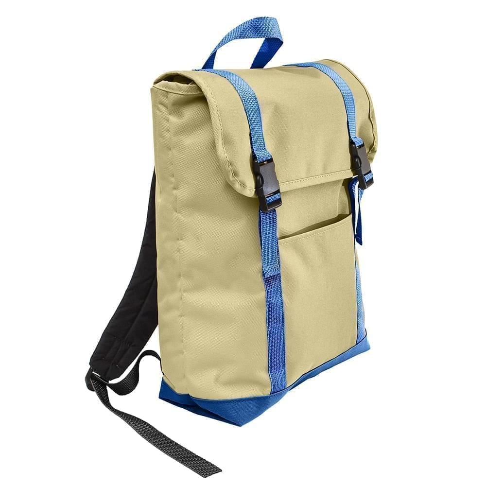 USA Made Canvas Large T Bottom Backpacks, Natural-Royal, 2001922-AK3
