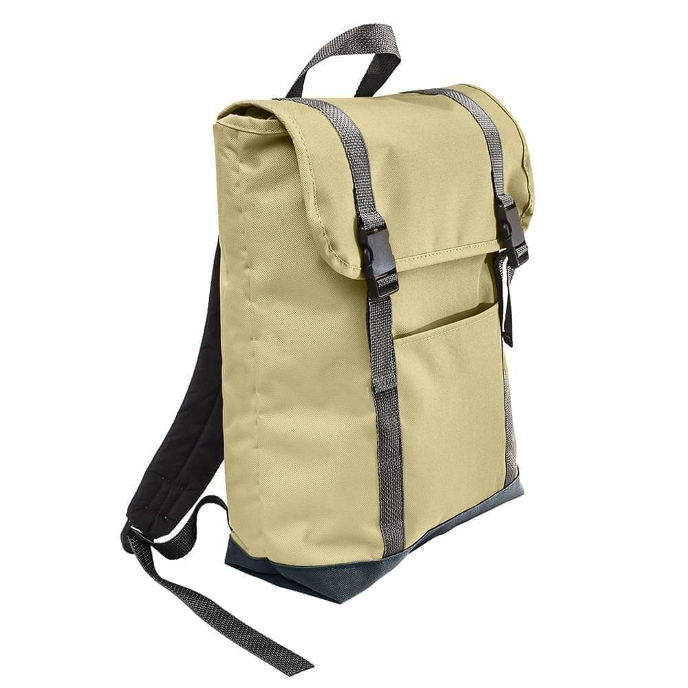 USA Made Canvas Large T Bottom Backpacks, Natural-Black, 2001922-AKR