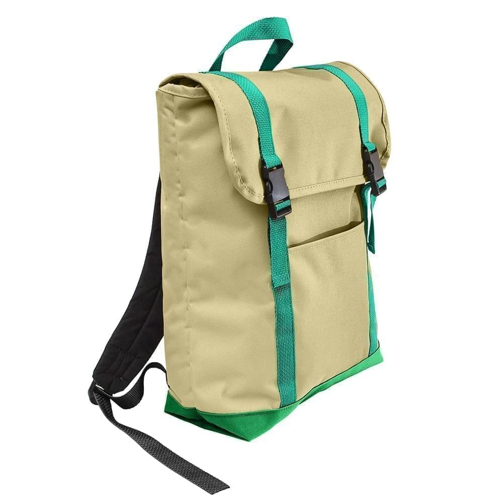 USA Made Canvas Large T Bottom Backpacks, Natural-Kelly, 2001922-AKW
