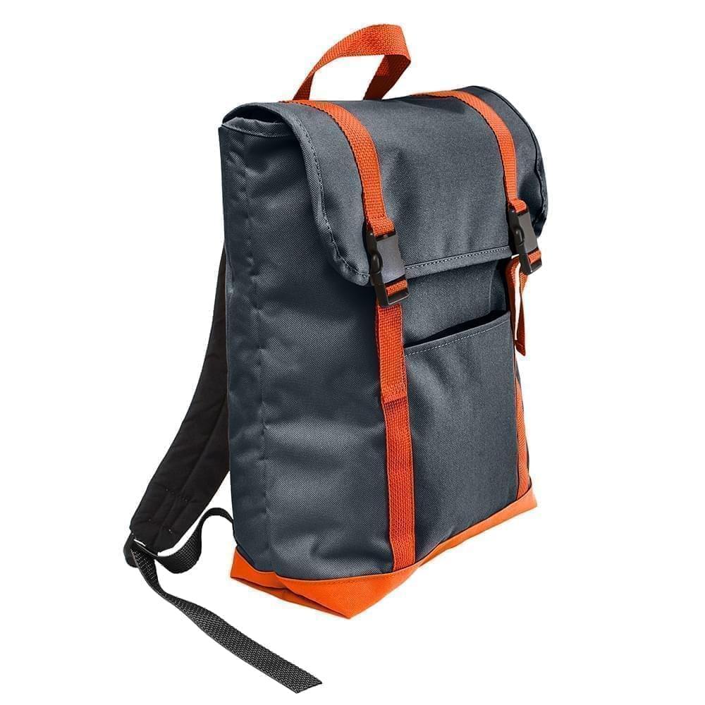 USA Made Poly Large T Bottom Backpacks, Black-Orange, 2001922-AO0