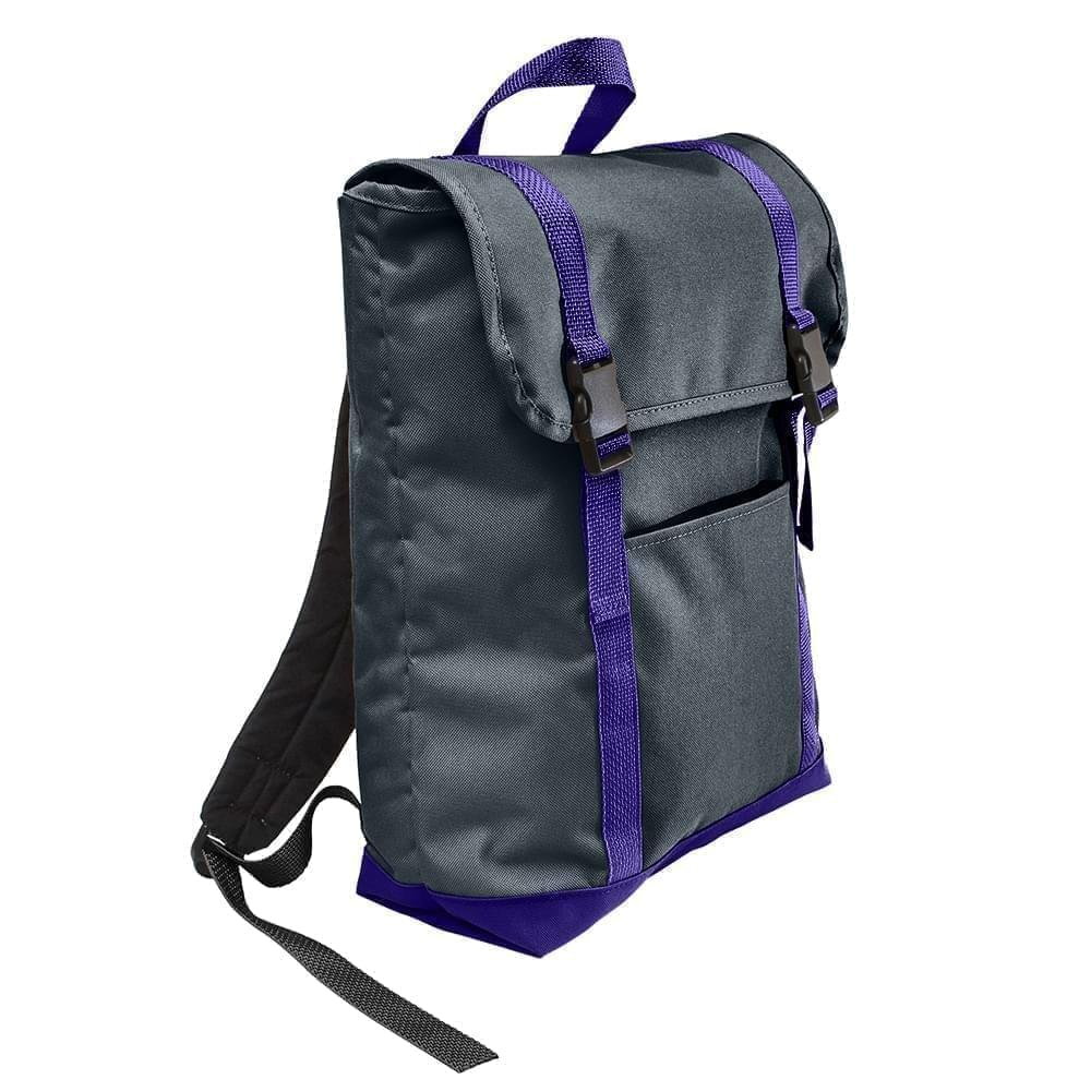 USA Made Poly Large T Bottom Backpacks, Black-Purple, 2001922-AO1