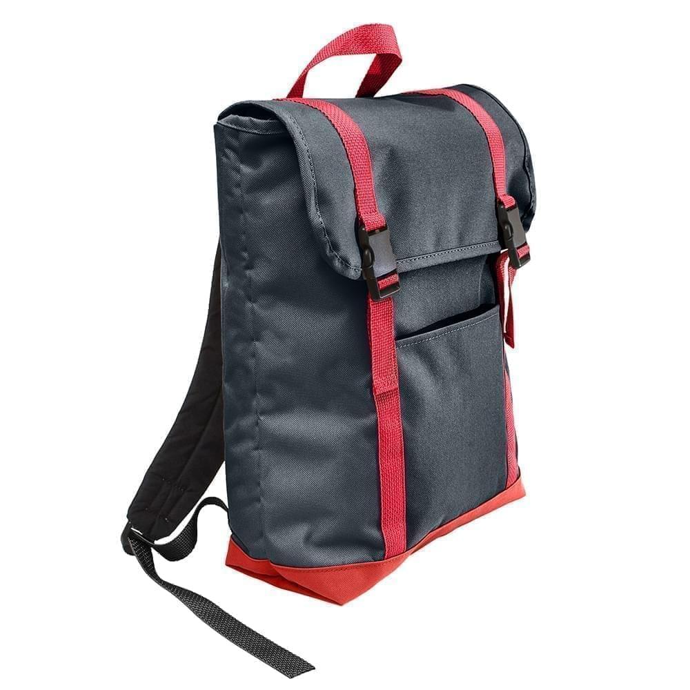 USA Made Poly Large T Bottom Backpacks, Black-Red, 2001922-AO2