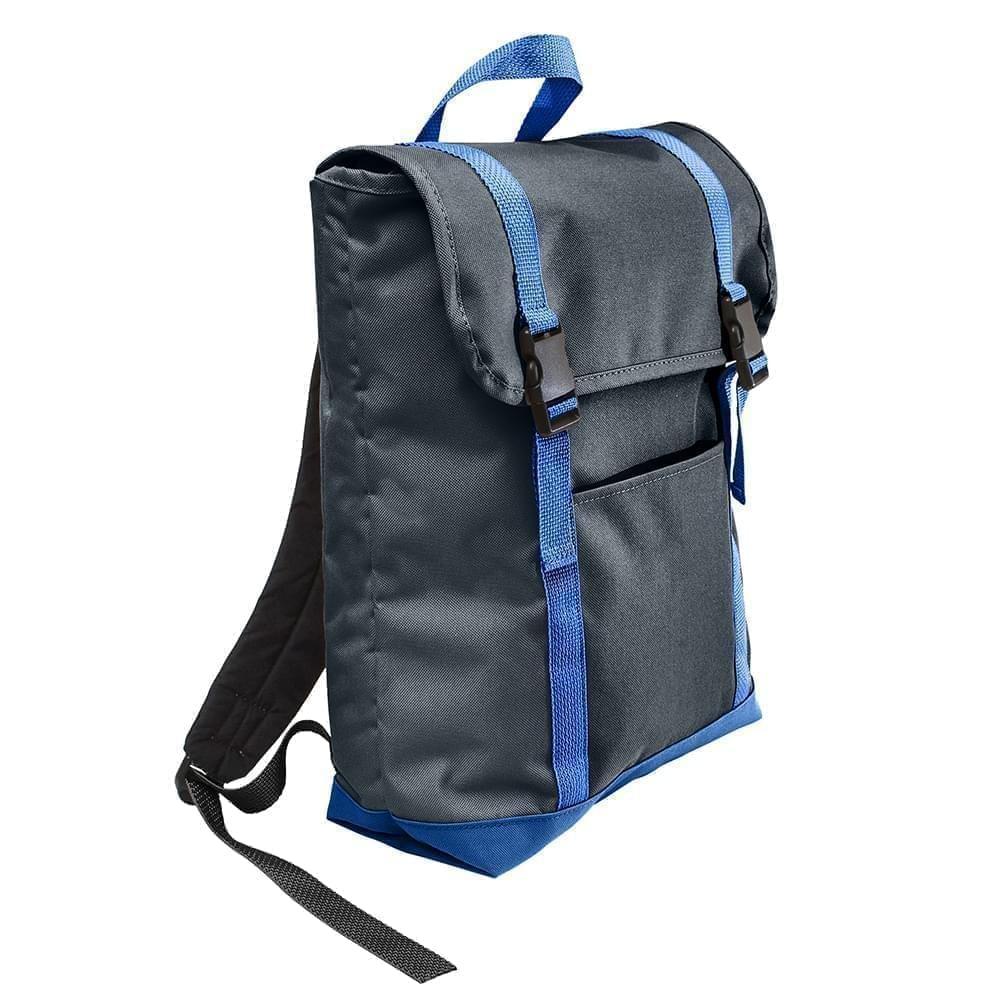 USA Made Poly Large T Bottom Backpacks, Black-Royal, 2001922-AO3