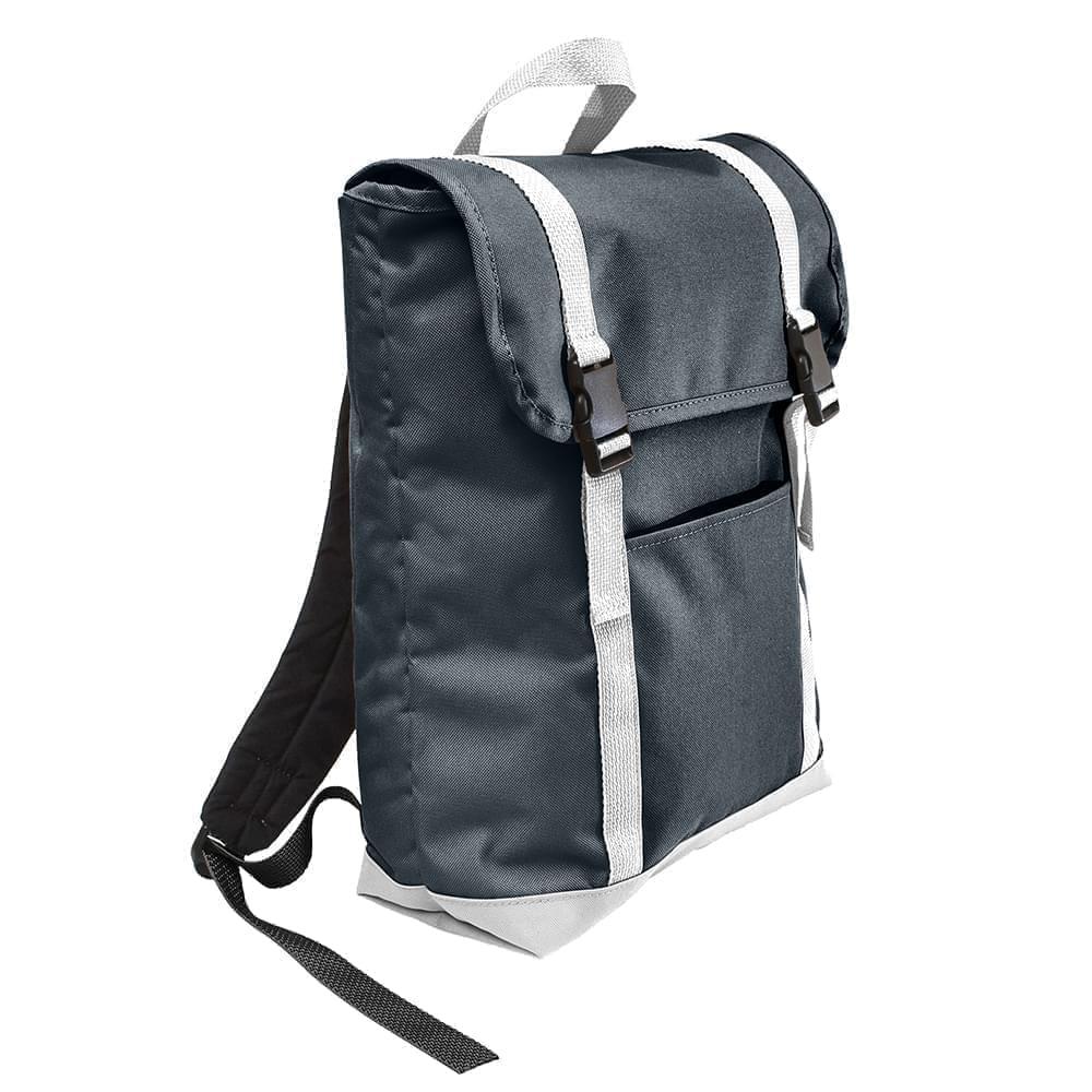 USA Made Poly Large T Bottom Backpacks, Black-White, 2001922-AO4