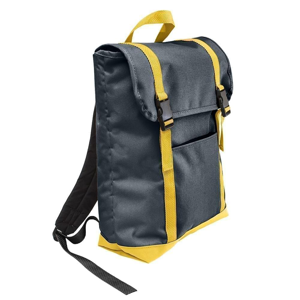 USA Made Poly Large T Bottom Backpacks, Black-Gold, 2001922-AO5