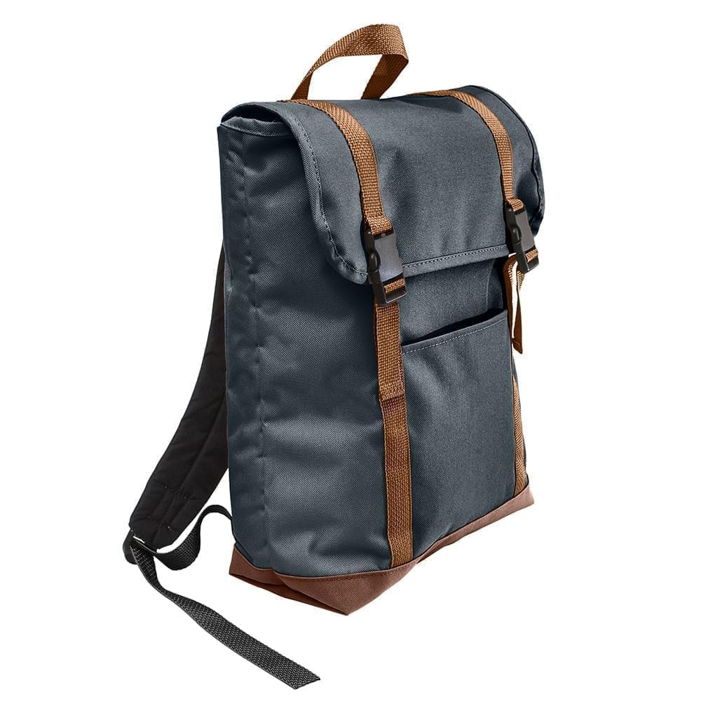 USA Made Poly Large T Bottom Backpacks, Black-Brown, 2001922-AOS