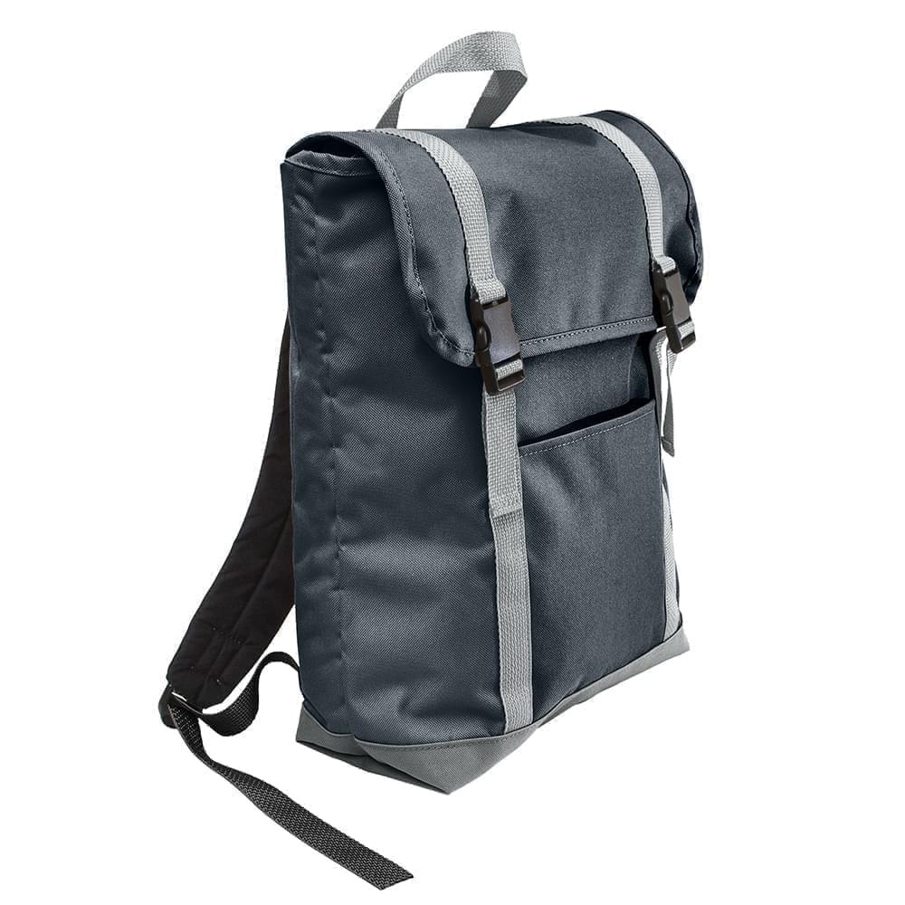 USA Made Poly Large T Bottom Backpacks, Black-Gray, 2001922-AOU