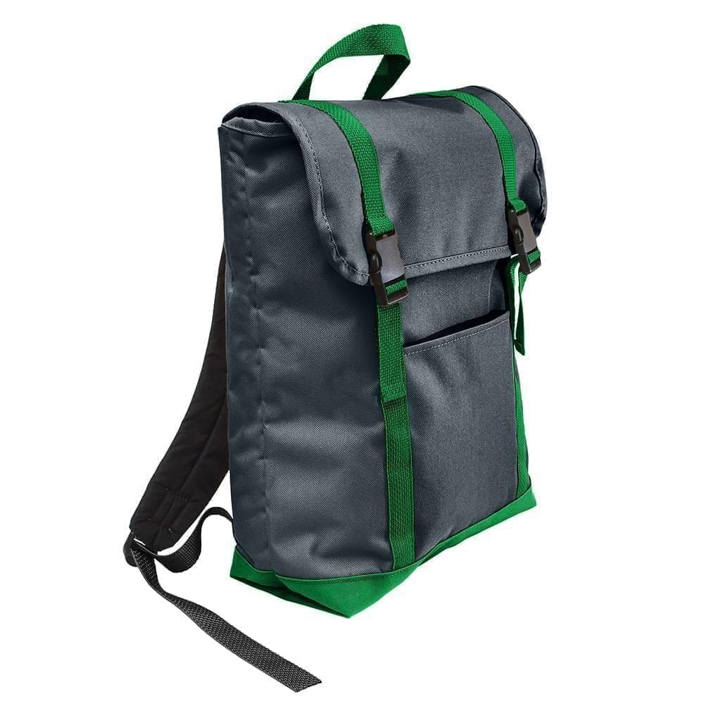 USA Made Poly Large T Bottom Backpacks, Black-Kelly, 2001922-AOW