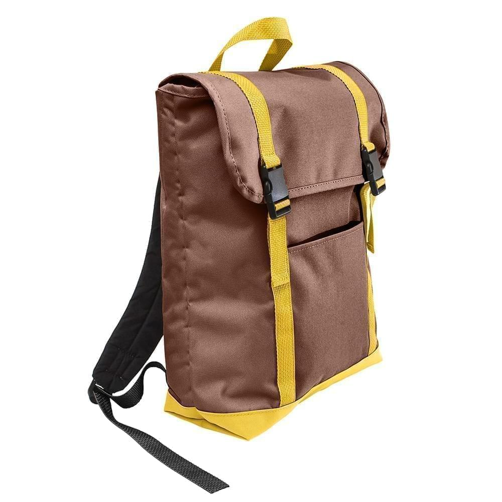 USA Made Poly Large T Bottom Backpacks, Brown-Gold, 2001922-AP5