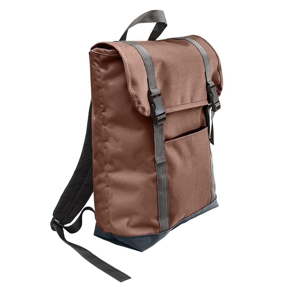 USA Made Poly Large T Bottom Backpacks, Brown-Black, 2001922-APR