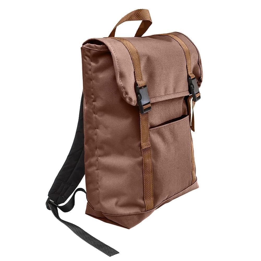 USA Made Poly Large T Bottom Backpacks, Brown-Brown, 2001922-APS
